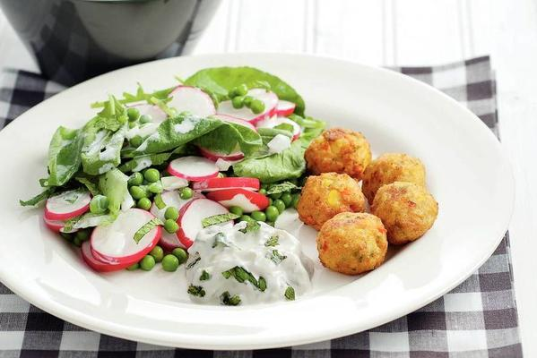 vegetable balls with pea salad