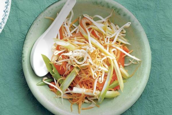 bean sprouts with pepper and carrot strips