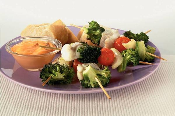cod skewers with cocktail sauce