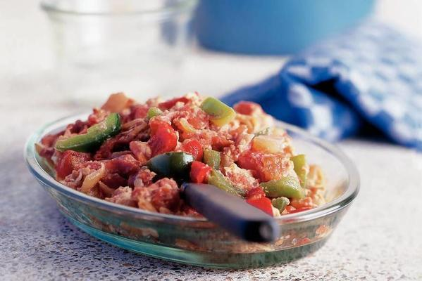 piperade (stewed vegetables with egg and raw ham)