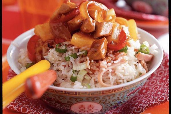 fried rice with sweet-and-sour pork