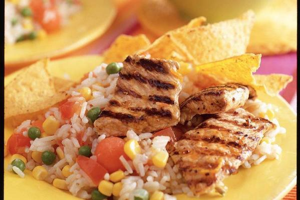 rice with grilled turkey