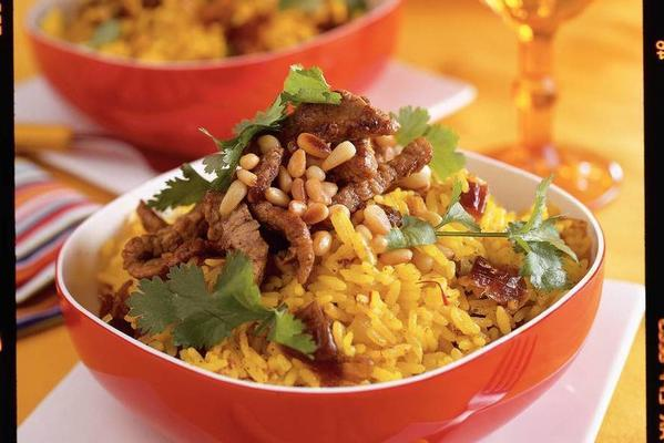 saffron rice with veal
