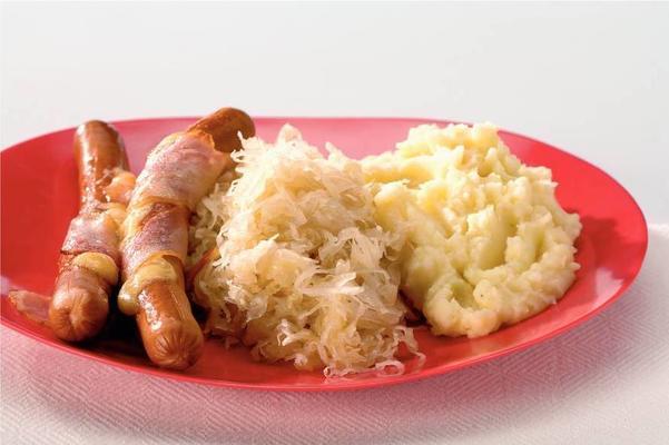 sauerkraut with stuffed hot dogs