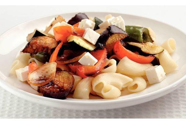 pasta with grilled balsamic vegetables