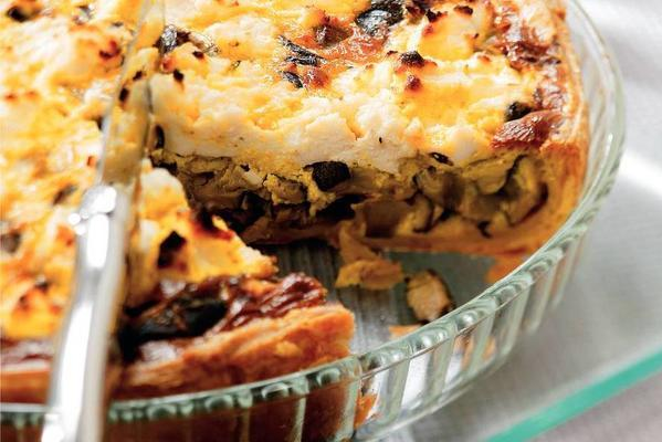 aubergine pie with shiitake and spring onions