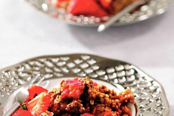 rhubarb crumble with strawberry salad
