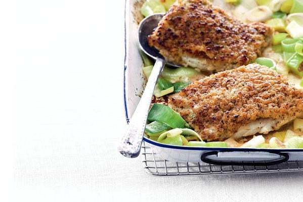 leeks with gratinated fish
