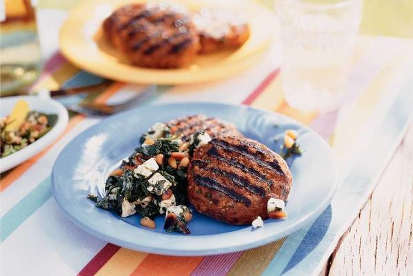 hamburgers with spinach and white cheese