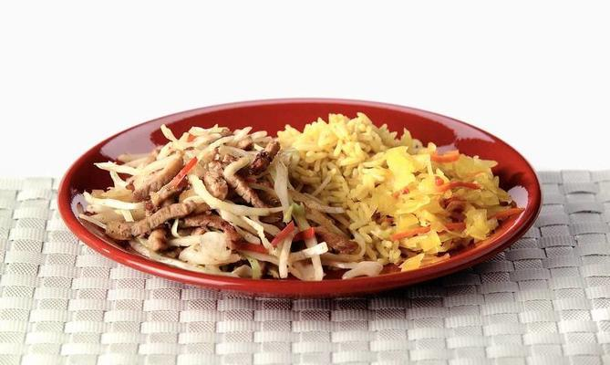 white cabbage with babi soy sauce and indian rice