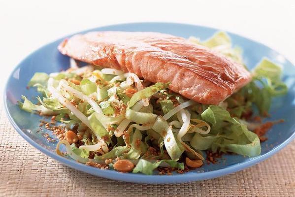 oriental salad with salmon