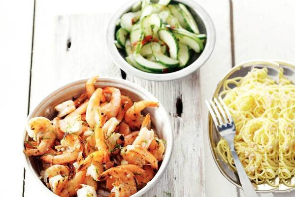 sweet-and-sour prawns and noodles