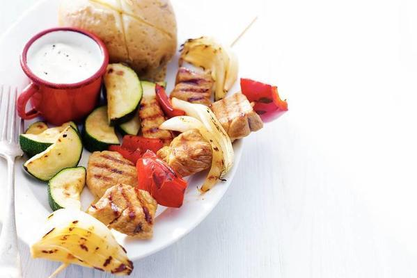 skewers with yoghurt sauce