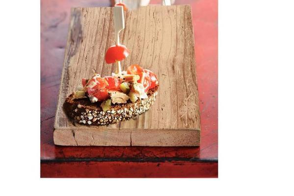 skewered tuna salad with tomato and pickle