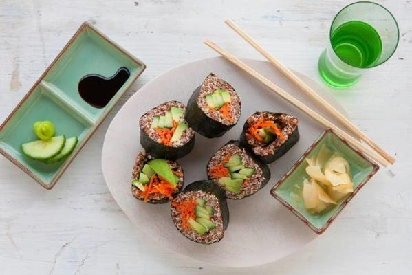 quinoa sushi with avocado