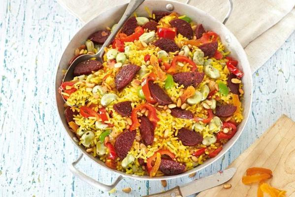 yellow rice with salami and pointed pepper
