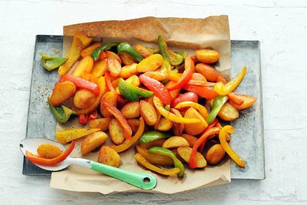 potatoes and peppers from the oven
