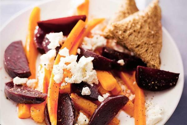 salad of beets, carrot and cheese