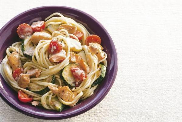 creamy spaghetti with salmon strips