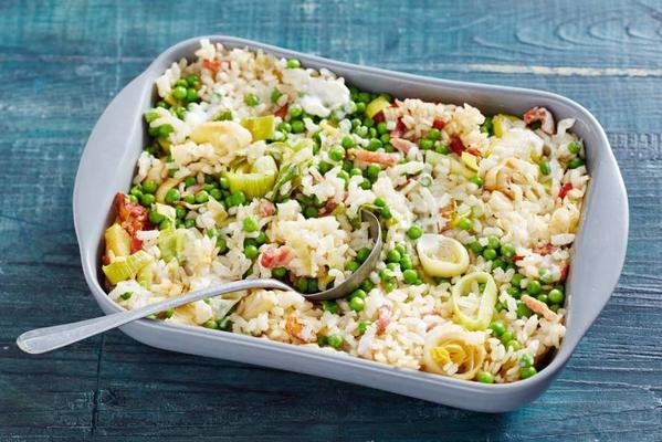 oven risotto with bacon and leek