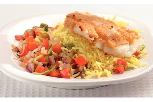 garlic cod with yellow rice