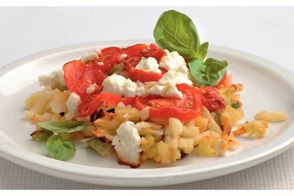 rösti with tomato and goat cheese