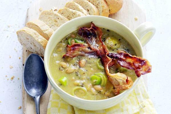 white bean leek soup with crispy kitten bacon