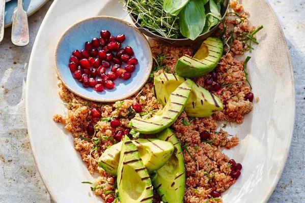 quinoa with pomegranate and avocado