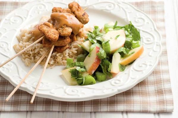 vegetarian satay with celery-apple salad