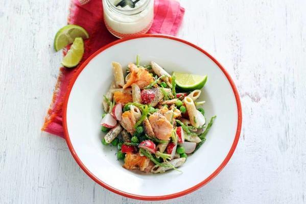 pasta salad with salmon and samphire