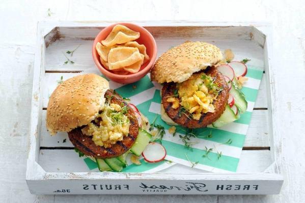 vega burger with sesame mayonnaise and cucumber