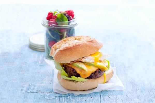 burger with avocado and fried egg