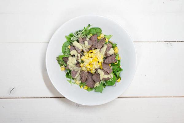 chef with lefs steak salad