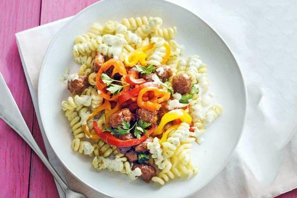 spicy pasta salad with minced meat and pointed pepper