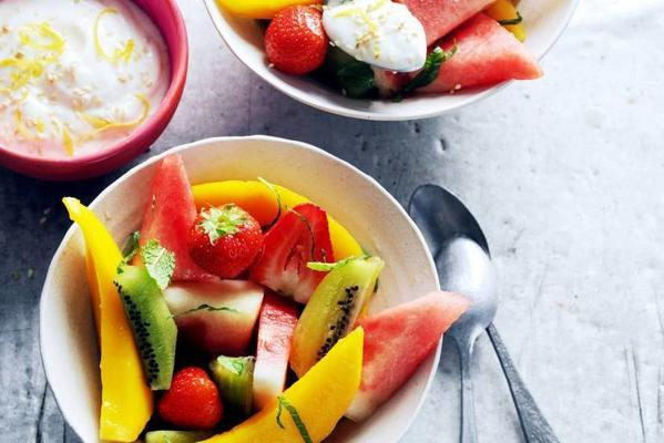 summer fruit with lemon-sesame-cheese dip