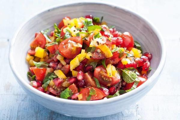 cherry tomato salsa with pomegranate seeds