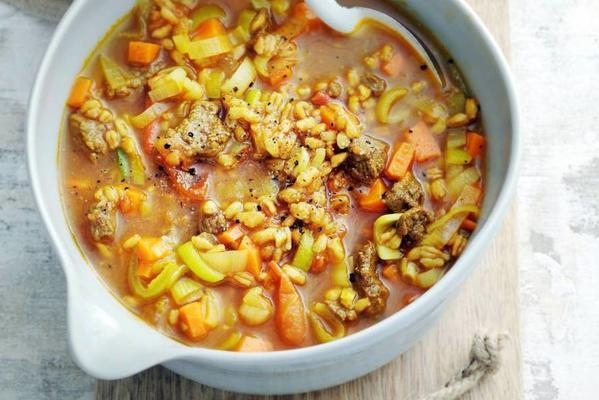 meal soup with beef and farro