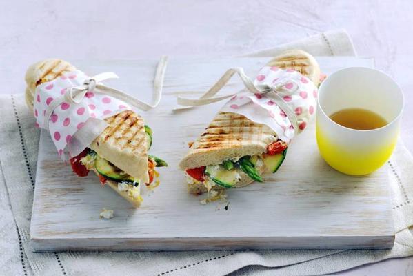 panini with ricotta, lemon and asparagus tips