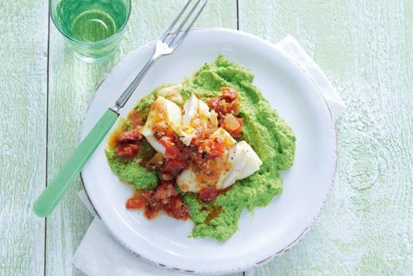 garden pea mint puree with cod and chorizo