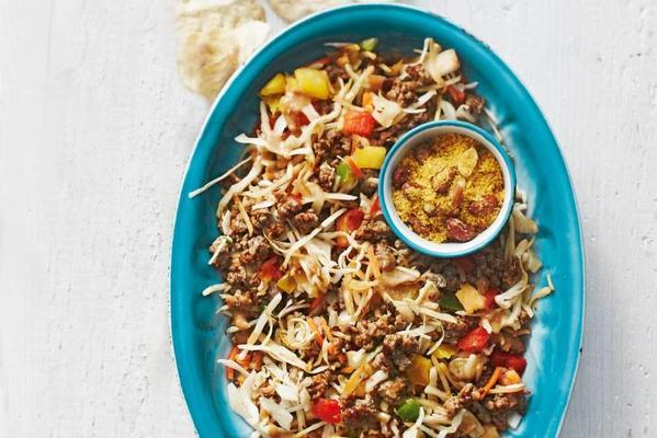 rice with spicy cabbage, minced meat and peanut