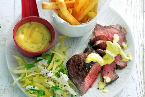 steak bearnaise with fries and chicory salad