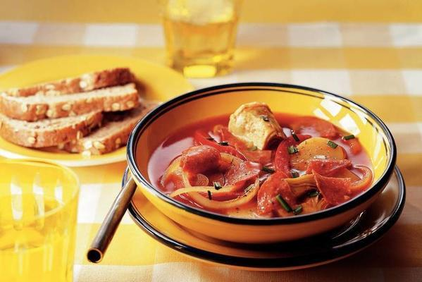 Spanish potato soup with artichoke hearts