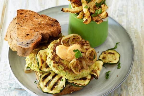 chicken burgers with zucchini and celeriac rites