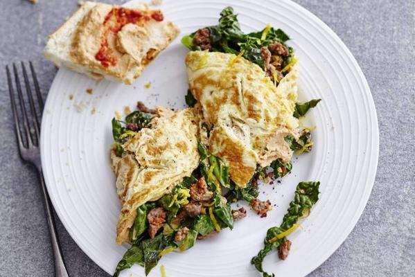 omelette with minced meat and cavolo nero