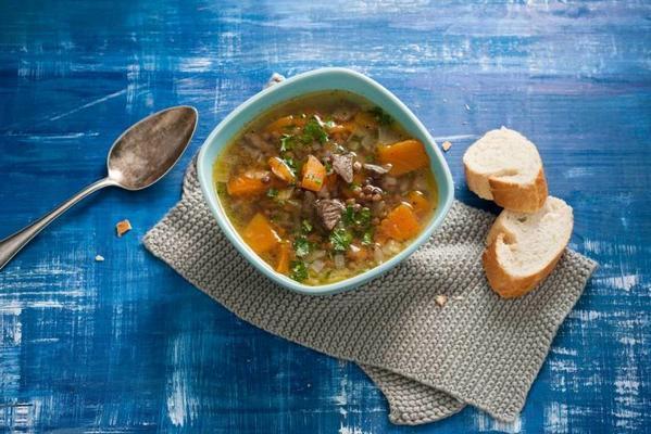 lentil soup with pumpkin and cumin