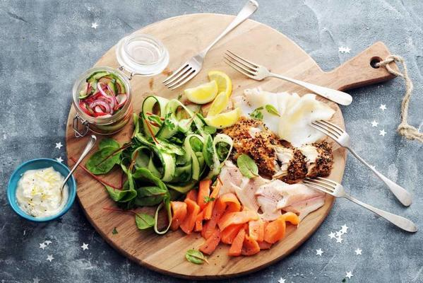fish plate with homemade pickle and salad
