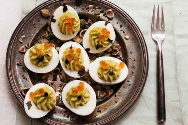 stuffed eggs with avocado and wasabicrunch