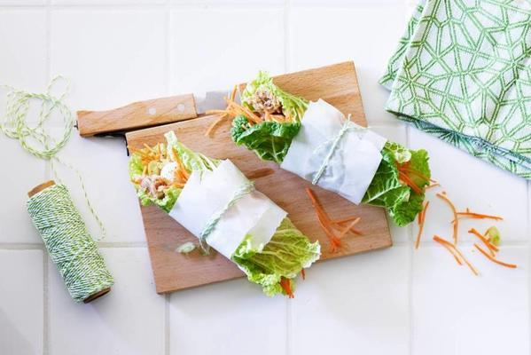 cabbage wrap with tuna, apple and carrot