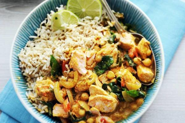 Indian fish curry with chickpeas and spinach