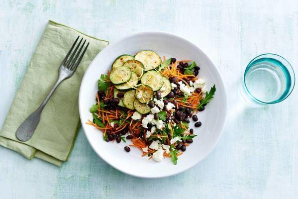 black bean salad with white cheese and fried zucchini